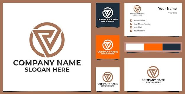 Pd logo driehoek en visitekaartje ontwerp premium vector