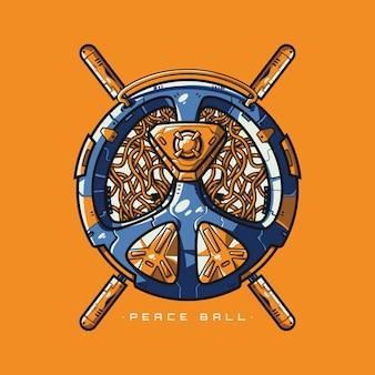 Peace ball-illustratie en t-shirtontwerp