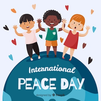 Peace day background kinderen hand in hand over de hele wereld