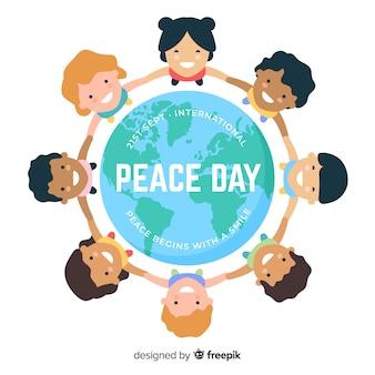 Peace day background kinderen hand in hand over de hele wereld