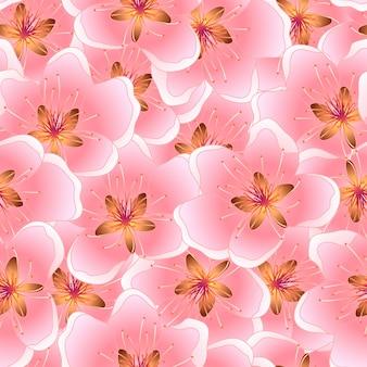Peach blossom naadloze textuur achtergrond