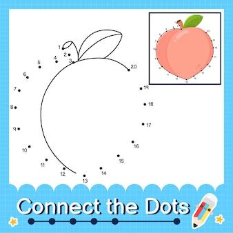 Peach kinderpuzzel verbind de stippen werkblad voor kinderen die de nummers 1 tot en met 20 tellen