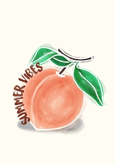 Peachy zomer vibes illustratie