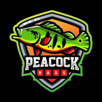 Peacock bass mascotte esport logo ontwerp
