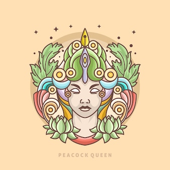 Peacock koningin lijn logo sjabloon