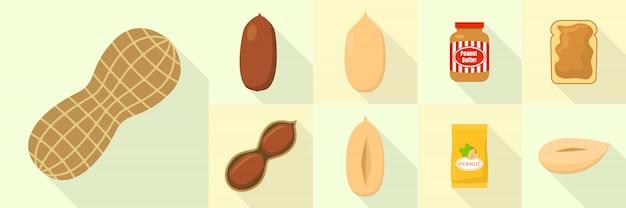 Peanut icons set, flat style