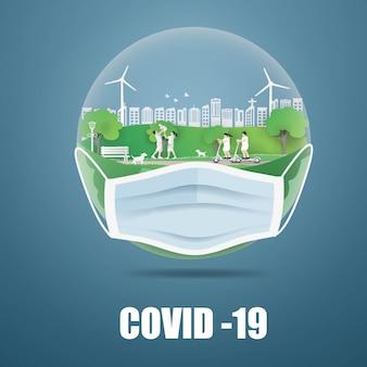 Peaple in de wereld beschermende chirurgie tegen covid-19-viruscellen die medische maskerhouders dragen.
