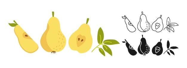 Pear cartoon set lijn, zwarte glyph-stijl, zomerperen icoon collectie plat voedsel.