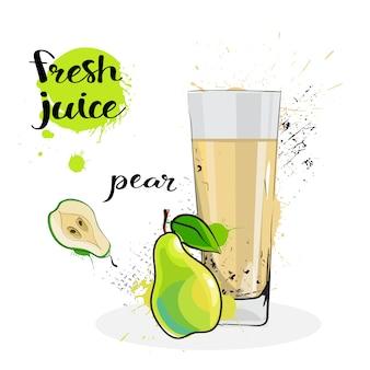 Pear juice fresh hand getrokken aquarel fruit en glas op witte achtergrond