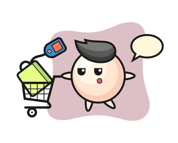 Pearl illustratie cartoon met een winkelwagentje