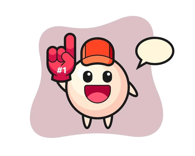 Pearl illustratie cartoon met nummer 1 fans handschoen