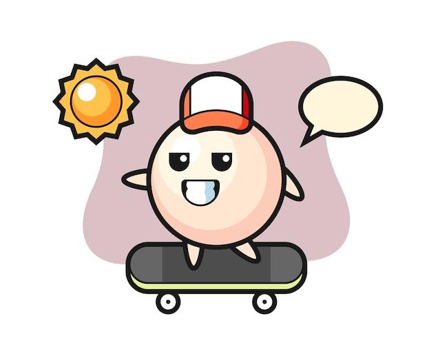 Pearl karakter cartoon rijden op een skateboard