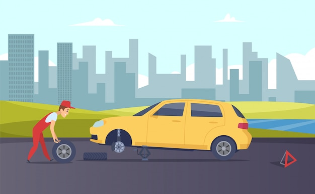 Pechverhelping. banden montage service. cartoon automonteur veranderende auto wielen op weg illustratie