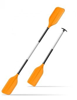 Peddel voor kajak of kanovaren vectorillustratie