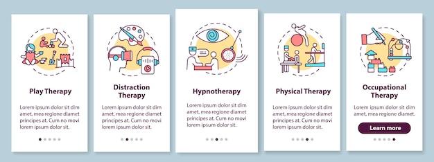 Pediatrische palliatieve zorg onboarding mobiele app-paginascherm met concepten