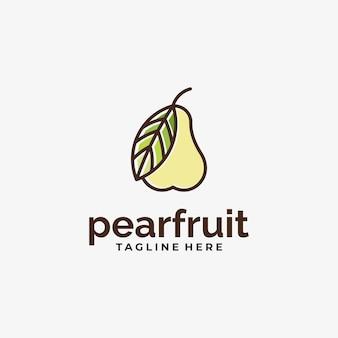 Peer fruit logo ontwerp inspiratie