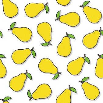 Peer fruit naadloos patroon op een witte achtergrond. verse peer pictogram vectorillustratie