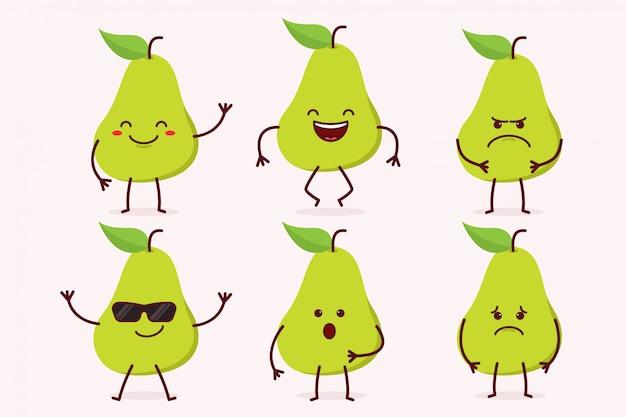 Peer fruit tekenset