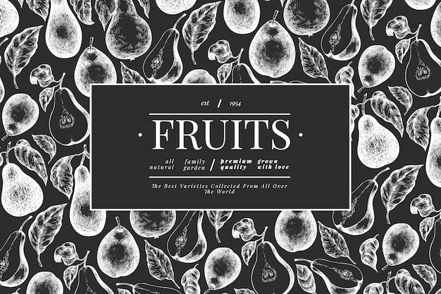 Peer ontwerpsjabloon. hand getekend vector tuin fruit illustratie op schoolbord. fruitframe in gegraveerde stijl. retro botanische banner.