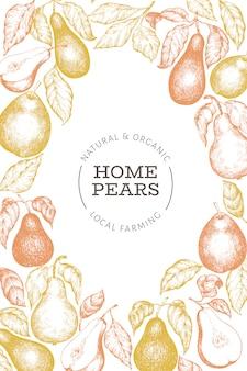 Peer ontwerpsjabloon. hand getekend vector tuin fruit illustratie.