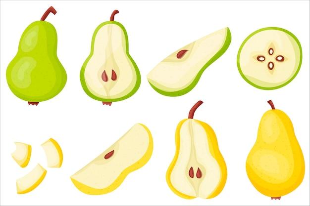 Peer set hertogin heerlijk en gezond zomerfruit goede voeding jam de sap vectorillustratie voor uw ontwerp in vlakke stijl