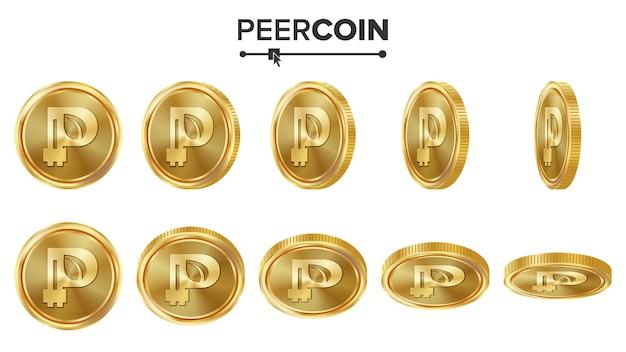 Peercoin 3d gouden munten