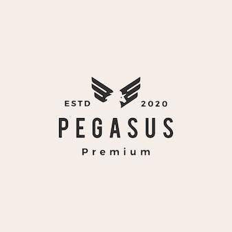 Pegasus eenhoorn vleugel hipster vintage logo pictogram illustratie