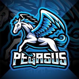 Pegasus esport mascotte logo ontwerp