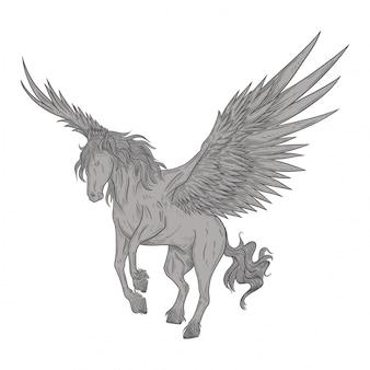 Pegasus in vintage tekenstijl