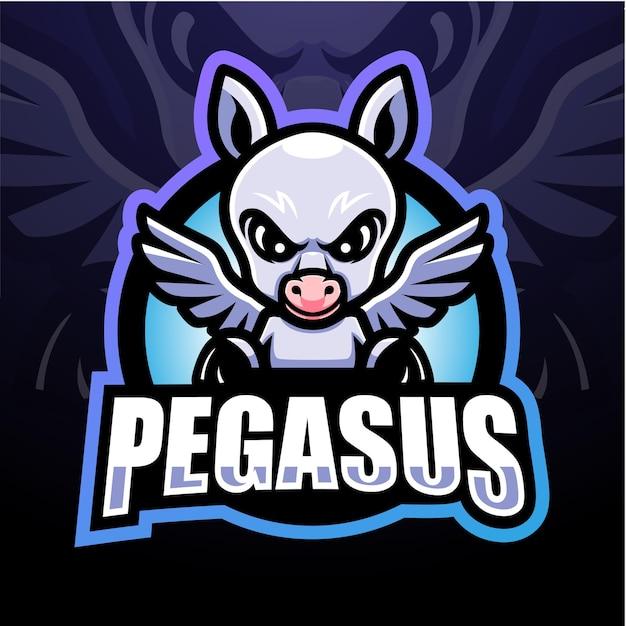 Pegasus mascotte esport logo ontwerp