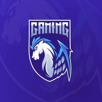 Pegasus mascotte logo ontwerp vector met moderne illustratie conceptstijl voor badge