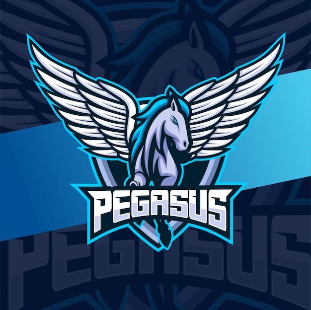 Pegasus paard mascotte esport logo ontwerp