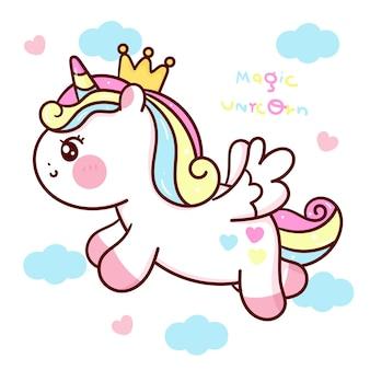 Pegasus unicorn cartoon met wolk vliegen op sky kawaii dier