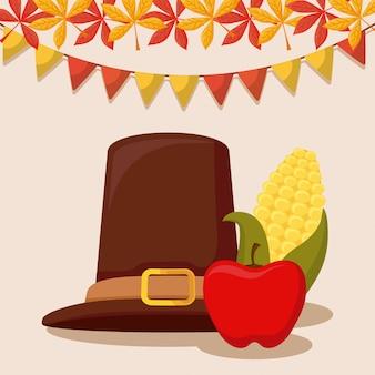 Pelgrims hoed van thanksgiving day met cob en apple