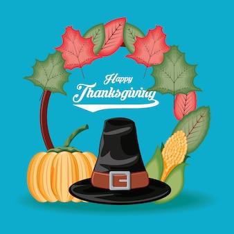 Pelgrimshoed met pompoen en maïskolf van thanksgiving day