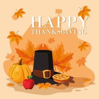 Pelgrimshoed van thanksgiving day met pictogramreeks