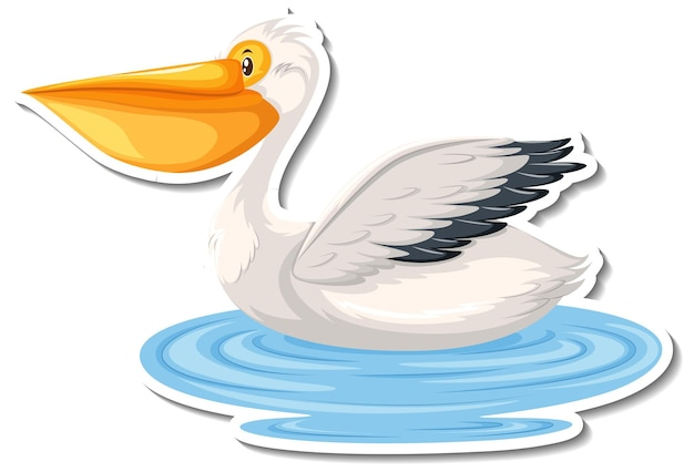 Pelikaan vogel cartoon sticker