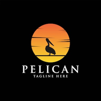 Pelikaan vogel logo vintage met zon achtergrond vector illustratie ontwerp