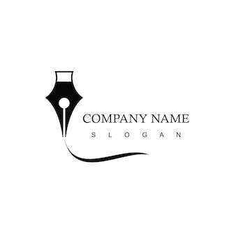 Pen advocatenkantoor bedrijfslogo ontwerpsjabloon