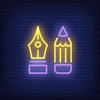 Pen en potlood neonreclame. tips voor vulpen en potlood. nacht heldere advertentie.