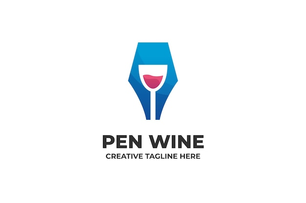 Pen en wijn bedrijfslogo