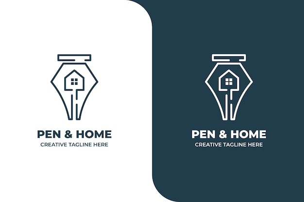 Pen house school document koffie monoline logo