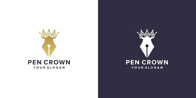 Pen kroon logo ontwerpsjabloon