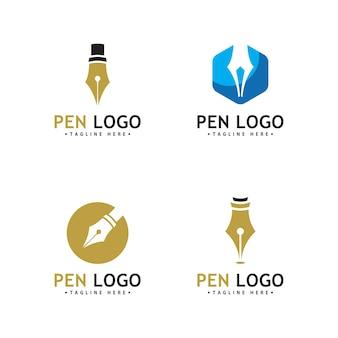 Pen logo pictogrammalplaatje. identiteit van de schrijver van het bedrijf
