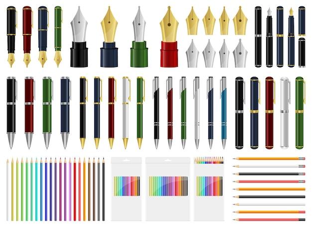 Pen set illustratie geïsoleerd op een witte achtergrond