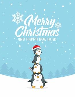 Penguin cartoon vrolijk kerstfeest