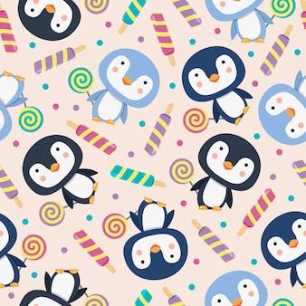 Penguin cute cartoon naadloze patroon met snoep