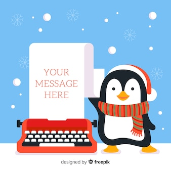 Penguin en typemachine