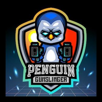 Penguin gunsliner mascotte esport logo ontwerp