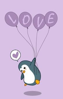 Penguin houdt 4 ballonnen vast met liefde-tekst